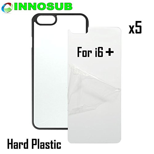 5 x Apple iPhone 6 PLUS-Plastic-black - blank dye case + inserts for dye Sublimation phone cover / blank Printable case, Made by INNOSUB™ USA