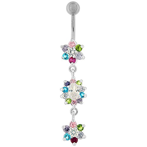 Multi Colored CZ Stone Triple Studded Flower Dangling Silver Belly Button Ring Jewelry