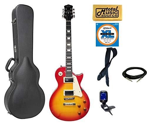 Oscar Schmidt OE20CS LP Style Electric Guitar Case Bundle - Cherry Sunburst ()