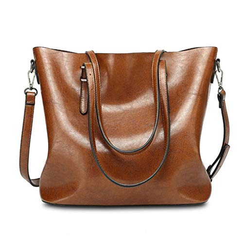Pahajim Women Leather Top Handle Handbags Satchel Purse Shoulder Bag Lady Tote Bag(Brown)