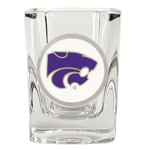 Kansas State Wildcats 2oz Square Shot Glass - Team Color Pewter (Kansas State Logo Square)