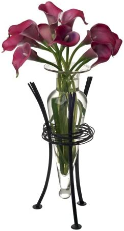 Danya B. MC750-C Decorative Glass Amphora Flower Vase with a Wrap-Around Metal Wire Stand – Clear
