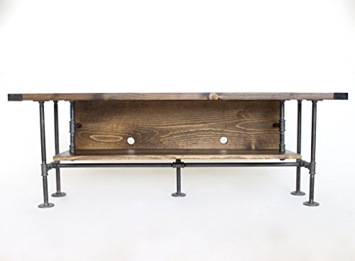 TV Console, Long, Rustic TV Stand, Industrial Style Media Stand, Ships from Detroit, Michigan
