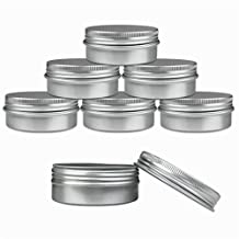 Aluminum Tin Jars, Cosmetic Sample Metal Tins Empty Container Bulk, Round Pot Screw Cap Lid, Small Ounce for Candle, Lip Balm, Salve, Make Up, Eye Shadow, Powder (6 Pack, 2 Oz/60ml)