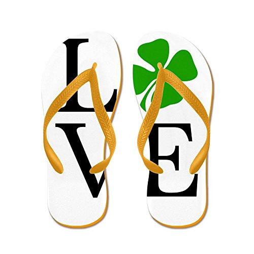 Cafepress Shamrock Love - Flip Flops, Roliga Rem Sandaler, Strand Sandaler Apelsin