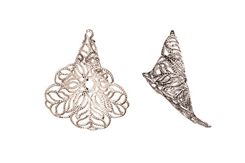 Bead Cap, Silver-Plated Brass, Filigree Flower, 24x22mm sold per pack of 6 ()