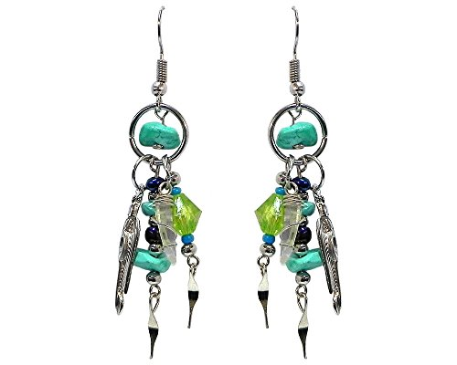 (Chip Stone Mini Hoop Silver Feather Charm Quartz Crystal Beaded Dangle Earrings (Turquoise/Lime-Green) )