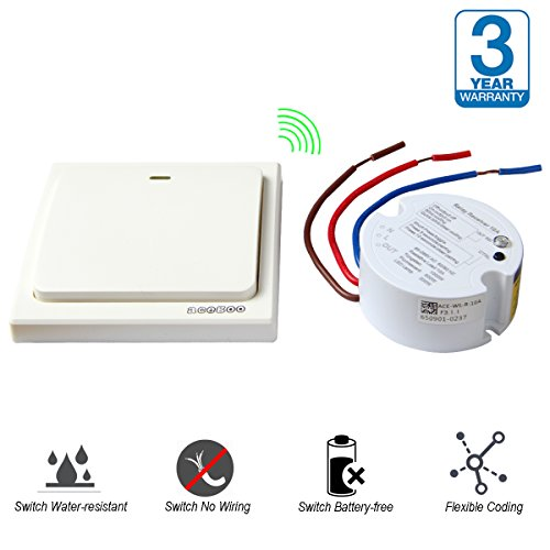 acegoo Wireless Lights Switch Kit, Speedy Add or Relocate Switches for Lights, Self-Powered No Wiring Rocker Switch Remote Control Lamps Fans Appliances On/off (Switch and Receiver)