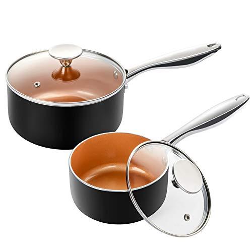 MICHELANGELO Saucepan Set with Lid, Nonstick 1Qt & 2Qt Copper Sauce Pan Set with Lid, Small Pot with Lid, Ceramic…