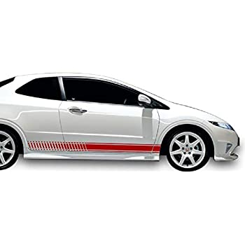 Bubbles Designs 2X Decal Sticker Vinyl Side Racing Stripes Compatible with Honda Civic Type R FN2 and FD2 JDM
