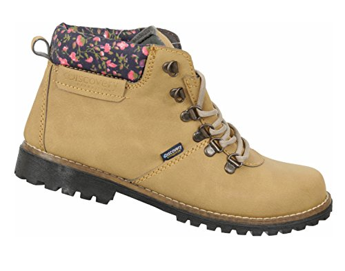 Discovery Expedition Women's Short Stylish Outdoor Laced Boot w/Patterened Trim Honey 6.5