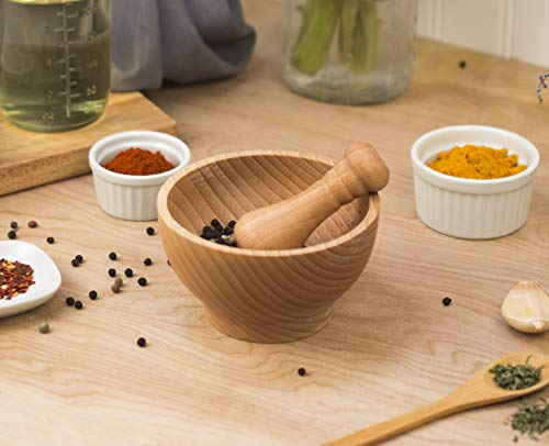 HIC Wooden Mortar and Pestle Set, Includes 4-Inch Mortar with 3.5-Inch Pestle
