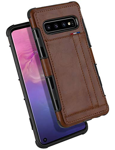 (Galaxy S10 Wallet Case, GOOSPERY Protective PU Leather Bumper Cover with Card Holder for Samsung Galaxy S10 (Brown) S10-LEA-BRN)