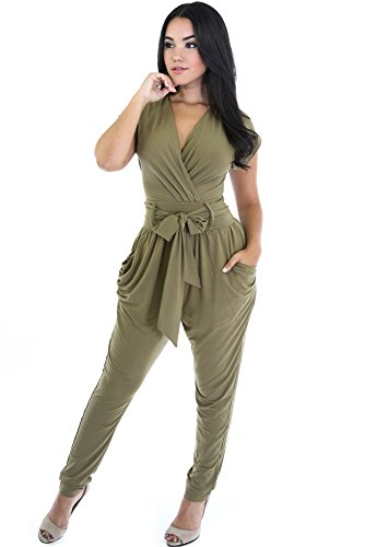 Adams Green Belt (Adam's Temptation Women's Casual Olive Green Wrapped V-Neck Belted Jumpsuit)