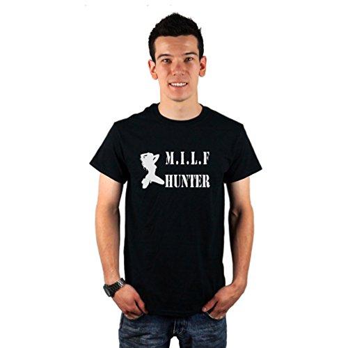 Men's Funny MILF Hunter Sexy Cougar Silhouette T-Shirt Medium Black