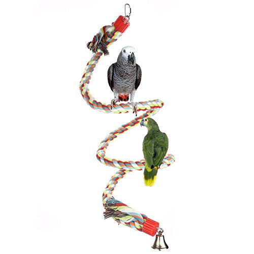 Jusney The Large Parrot Cage Toys 63 Inch Rope Bungee Climbing Ropes,Swing Toys,Spiral Standing Toys About 160 Centimeter Long (63 Inch) by Jusney
