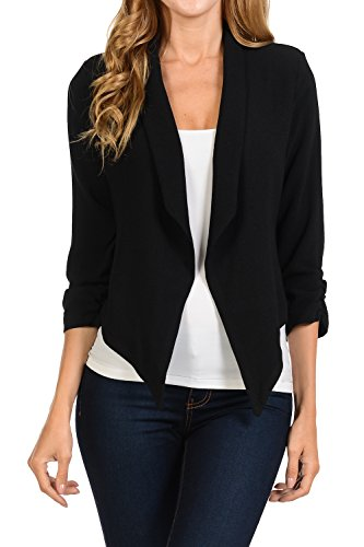 Auliné Collection Womens 3/4 Sleeve Casual Work Lined Open Front Cardigan Blazer Black Medium