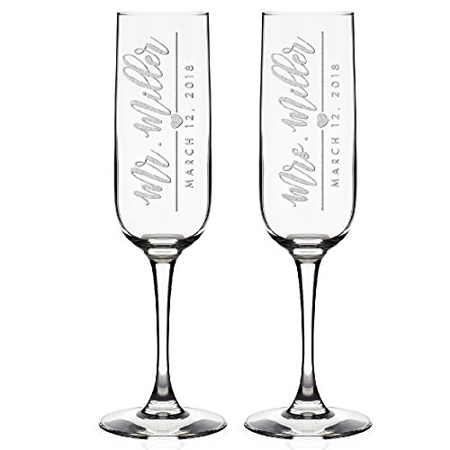 Set of 2 Personalized Champagne Flutes Wedding Glasses for Bride & Groom Champagne Glasses - Wedding Gifts Mr & Mrs Champagne Flutes Wedding favor Toasting Glasses | Heart to Heart Glasses #C16