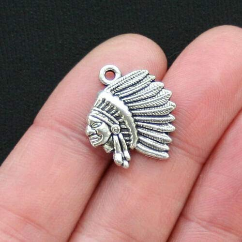 6 Native American Indian Chief Headdress Charms Antique Silver Tone - SC2890 DIY Jewelry Making Supply for Charm Pendant Bracelet