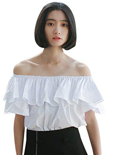 Women's Fashion Off Blouse Sleeve Shoulder Achicgirl Yellow Ruffle Short R5qwdnEx