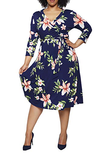 Pink Queen Women Dresses Plus Size Floral Wrap Dress 3/4 Sleeves 3XL Navy Blue Floral