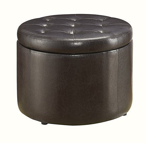 Convenience Concepts Designs4Comfort Modern Round Shoe Ottoman, Espresso by Convenience Concepts (Image #5)