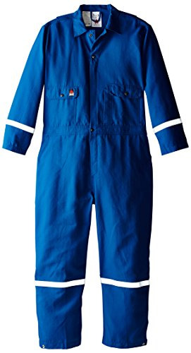 (Wenass WSLCVN60URBM-52ST Deluxe Field Coverall with 6.0-Ounce Fire Resistant Nomex IIIA Twill, Size 52, Short, Royal Blue)