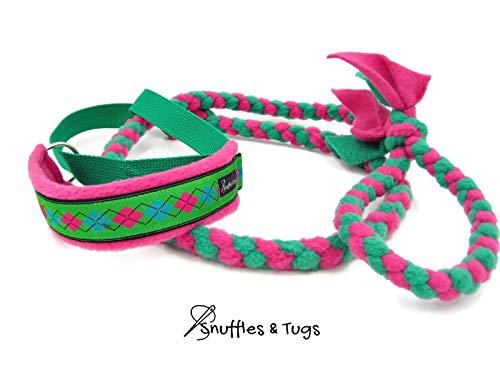 Pink and green argyle fleece braided dog agility slip leash by Snuffles and - Argyle Slip