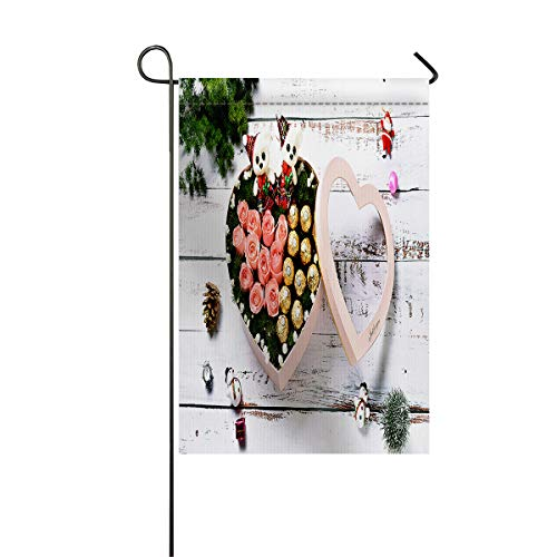 Family Decor 28 x 40 Inch Seasonal Garden Flag for Outdoor, Decorative House Lawn & Yard Holiday Flags - Double Sided, Polyester, Happy Rose and Chocolate