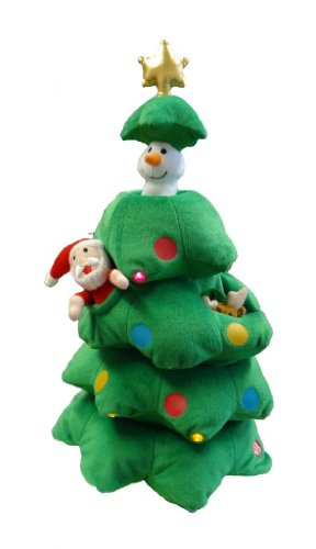 Singing Christmas Tree Santa Reindeer Snowman Polyester Musical Animatronic Plush Toy Christmas Collectible
