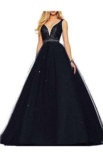 Schwarz Damen Ausschnitt Braut V Orange Abiballkleider Abschlussballkleider Pailletten Promkleider mia Abendkleider La A7xfPP