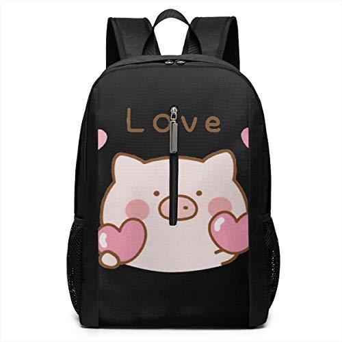 GHYGTY Cute Piggy Heart Love Laptop Backpack,17 inch Laptop Backpack for High School Or - Heart Piggy