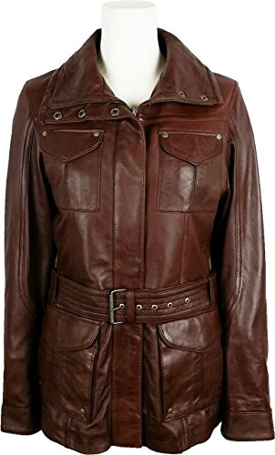 UNICORN Womens Classic Mid-Length Coat - Real Leather Jacket - Brown #7P (12)
