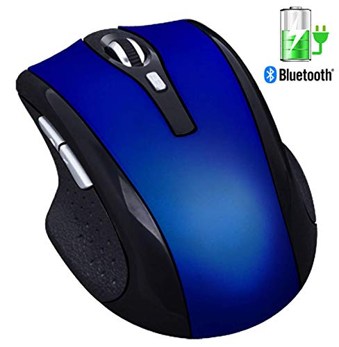 Silent Rechargeable Wireless Mouse - Tsmine Noiseless Mute Mouse,3 Adjustable DPI,6 Buttons for for Laptop, MacBook 2017 and Android OS Tablet, Blue
