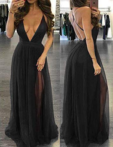 Bridal Prom Long V Bess Sexy Neck Women Backless Tulle s Sheer Party Black Dress Deep UxPxdTwq1