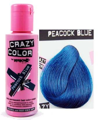 Amazoncom Crazy Color Peacock Blue No Ml Box Of Semi - Hair colour in blue