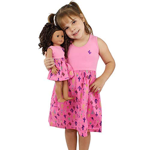 Girl and Doll Matching Dress Clothes Fits American Girl Dolls & Other 18 inches Dolls (Size 8 Girl + Doll Outfit) Pink ()