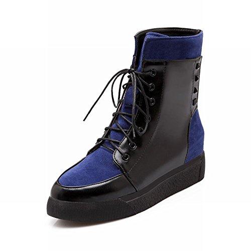 Le Donne Carolbar Allacciano I Colori Assortiti Fashion Comfort Con Zeppa Al Tacco Stivaletti Blu