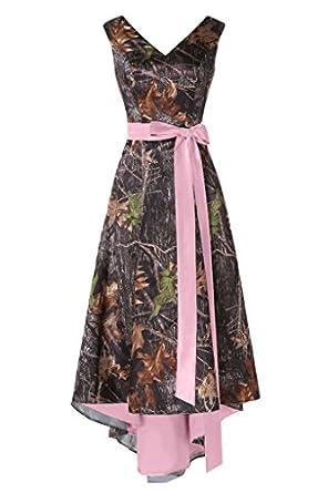 d9fe8526c4e80 MILANO BRIDE Asymmetrical Camo Prom Dress Wedding Party Dress Double-Neck  Sash-12-