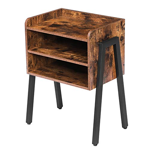 HOOBRO End Table, Stackable Nightstand, 3 Tier Side Table for Small Spaces with 2 Open Front Storage Compartments, Wood Look Accent Table with Metal Frame, Rustic Brown