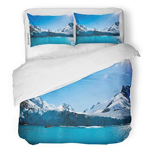 MIGAGA Decor Duvet Cover Set Twin Size Blue Outdoors Beautiful Snow Covered Mountain Range in Alaska Colorful Alaskan 3 Piece Brushed Microfiber Fabric Print Bedding Set Cover