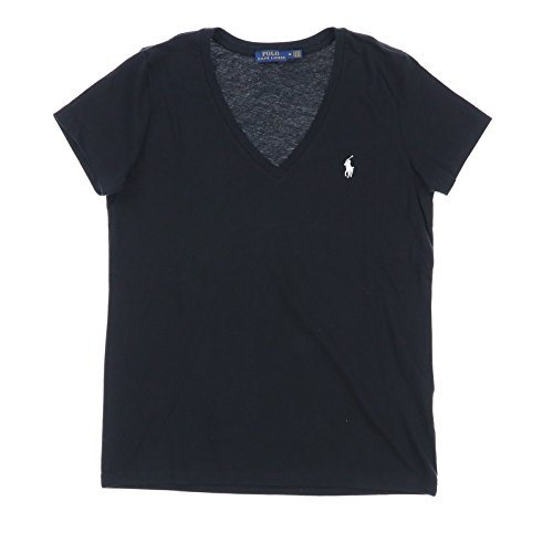 Polo Ralph Lauren Womens V-Neck Jersey T-Shirt (Large, Polo Black)