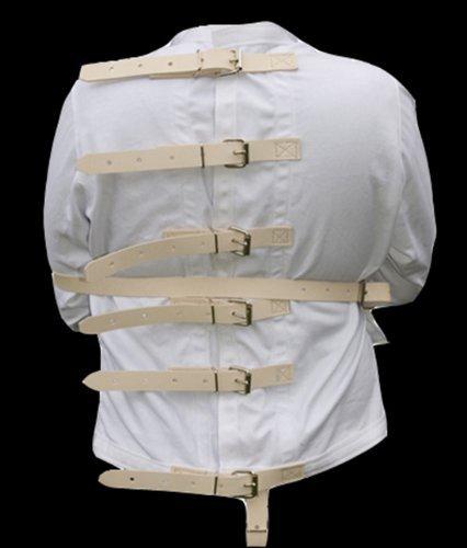 2XL Tan leather strap straight Jacket