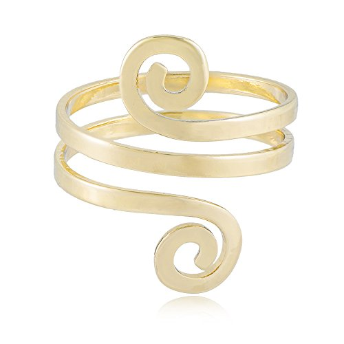 MANZHEN Fashion Double Swirl Wire Wrap Faceted Adjustable Thumb Open Ring (Gold)