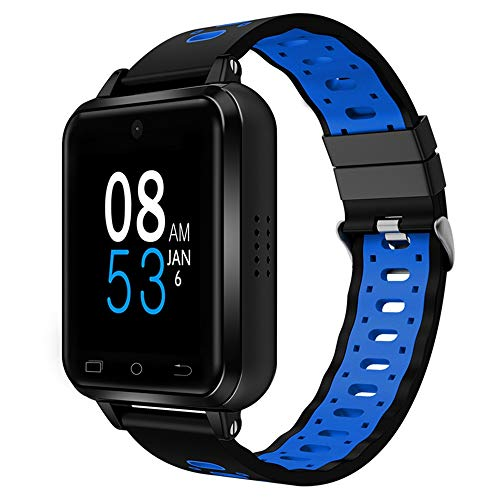 Q1 Pro 4G Smart Watch Waterproof 3G 2G Bluetooth Watch WiFi GPS Touch Screen Soft Silicone Strap Camera Heart Rate Pedometer Sports Smartwatch Location Call SOS for Man Woman Kids (Black+Blue)