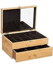 Decopatent Luxe Juwelendoos - Spiegel 26 Vakken en Lade - Bamboe houten - Sieradenhouder - Bijouterie Kist - Sieradendoos Dames