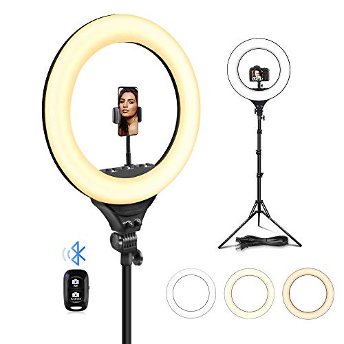 UBeesize 18'/48cm Ring Light, 3000K-6000K Dimmable LED Bi-Color Ring Light with Stand and Phone Holder, for Camera and Smartphone, Perfect Diva Light for Makeup, Photography, YouTube, Vlogging