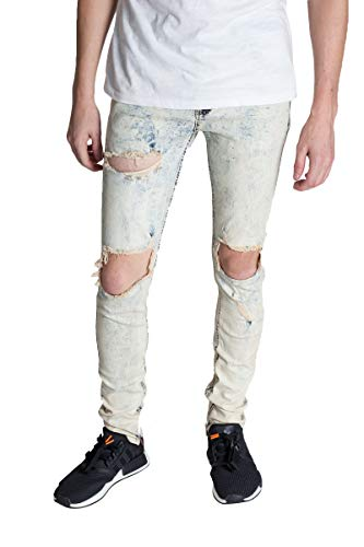 KDNK Destroyed Knee Ankle Zip Jeans Pants (38, Tinted Ice Blue)
