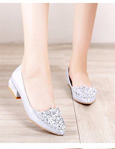 Pour Hxvu56546 Et Saison Femmes De Brillant Talons La Cristal Printemps Silvery Chaussures Rugueux D'automne Iraq0rx5w