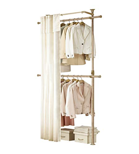 PRINCE HANGER   Premium Wood Colored 2 Tier Hanger with Curtain   Clothing Rack   Closet Organizer   PHUS-0063